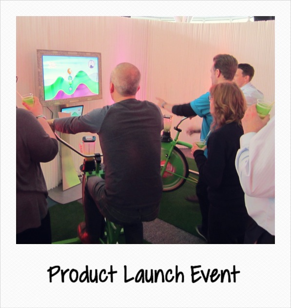 product launch event with smoothie bikes