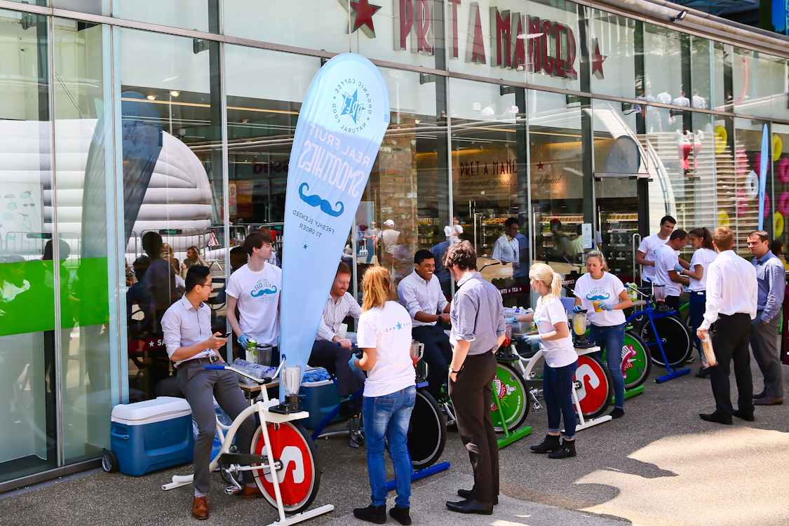 1,000 office workers and visitors cycled for smoothies on Pret's 'blender bikes' yesterday.  Smoothie fans can do the same today (Friday 10th) for free, at Stylist's Reclaim Your Lunchtime event in Regent's Place from 11am-4pm.